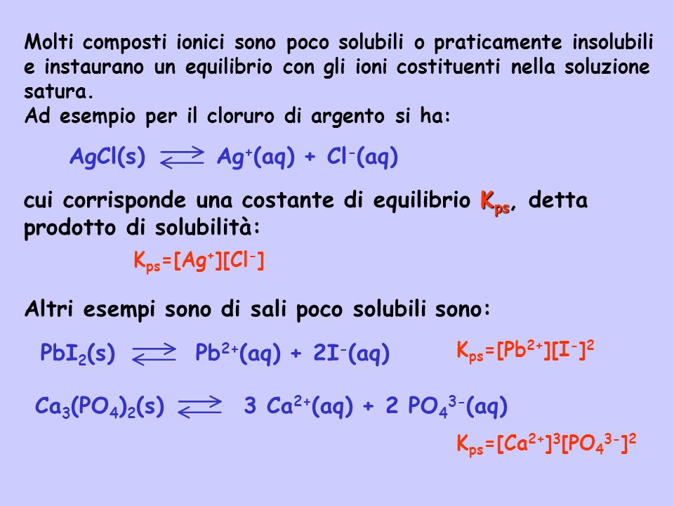 solubilità Si intende con solubilità il numero di moli di sale che si sciolgono per litro di soluzione.