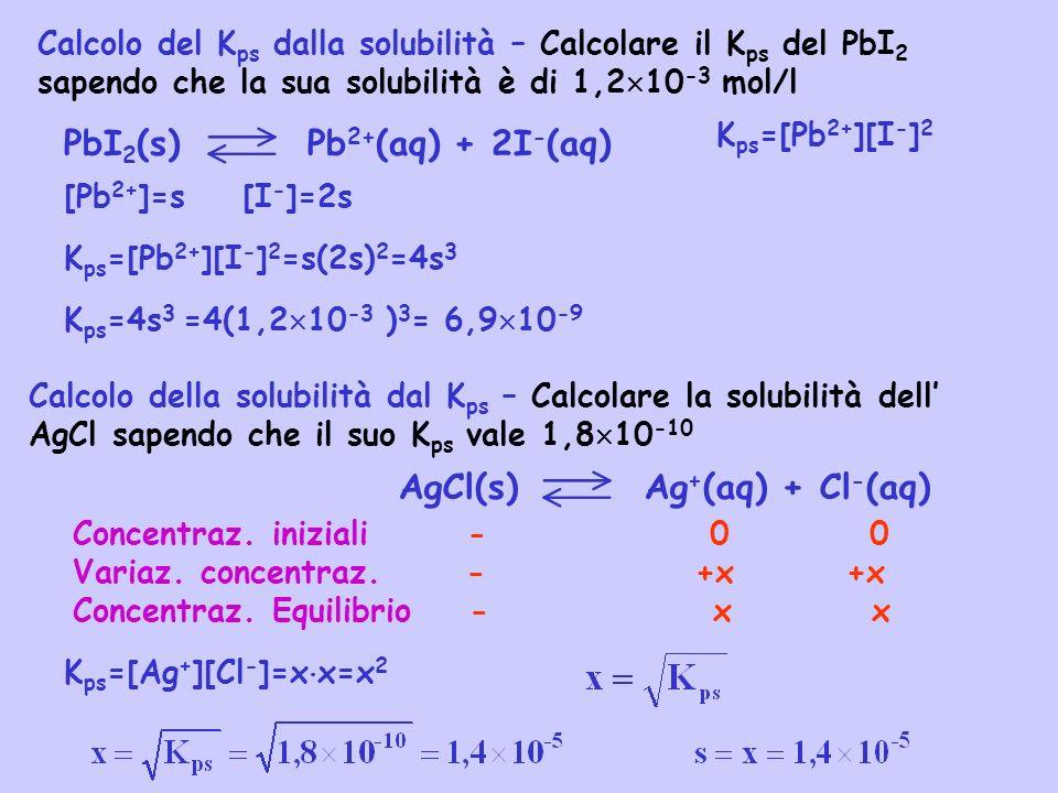 Calcolo del K ps dalla solubilità – Calcolare il K ps del PbI 2 sapendo che la sua solubilità è di 1,2 10 -3 mol/l PbI 2 (s) Pb 2+ (aq) + 2I - (aq) [P