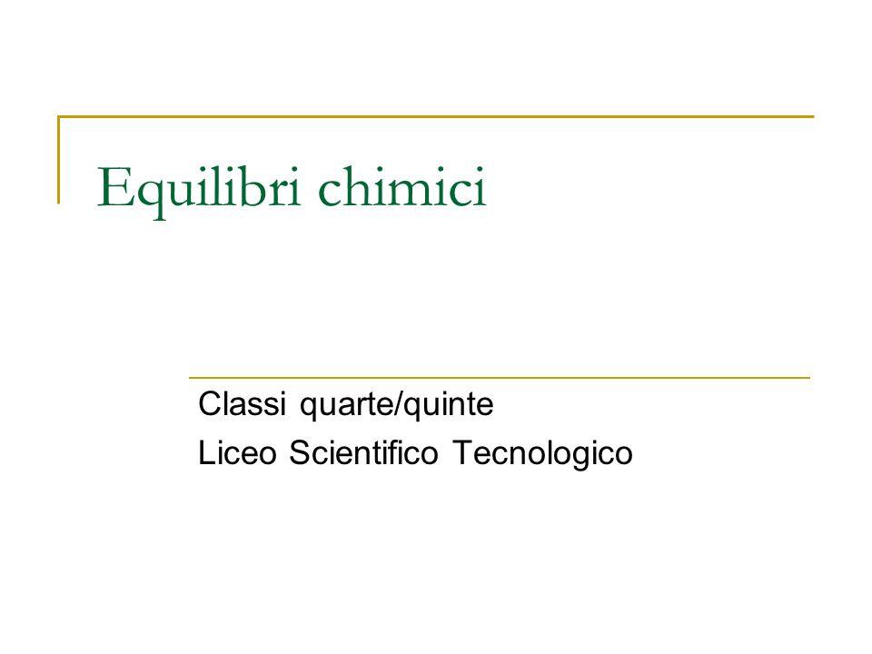 Equilibri chimici Classi quarte/quinte Liceo Scientifico Tecnologico