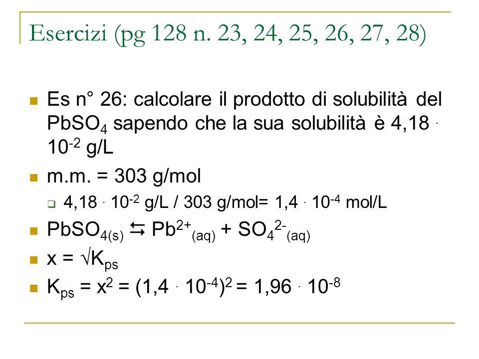 Esercizi (pg 128 n. 23, 24, 25, 26, 27, 28) Es n° 26: calcolare il prodotto di solubilità del PbSO 4 sapendo che la sua solubilità è 4,18. 10 -2 g/L m