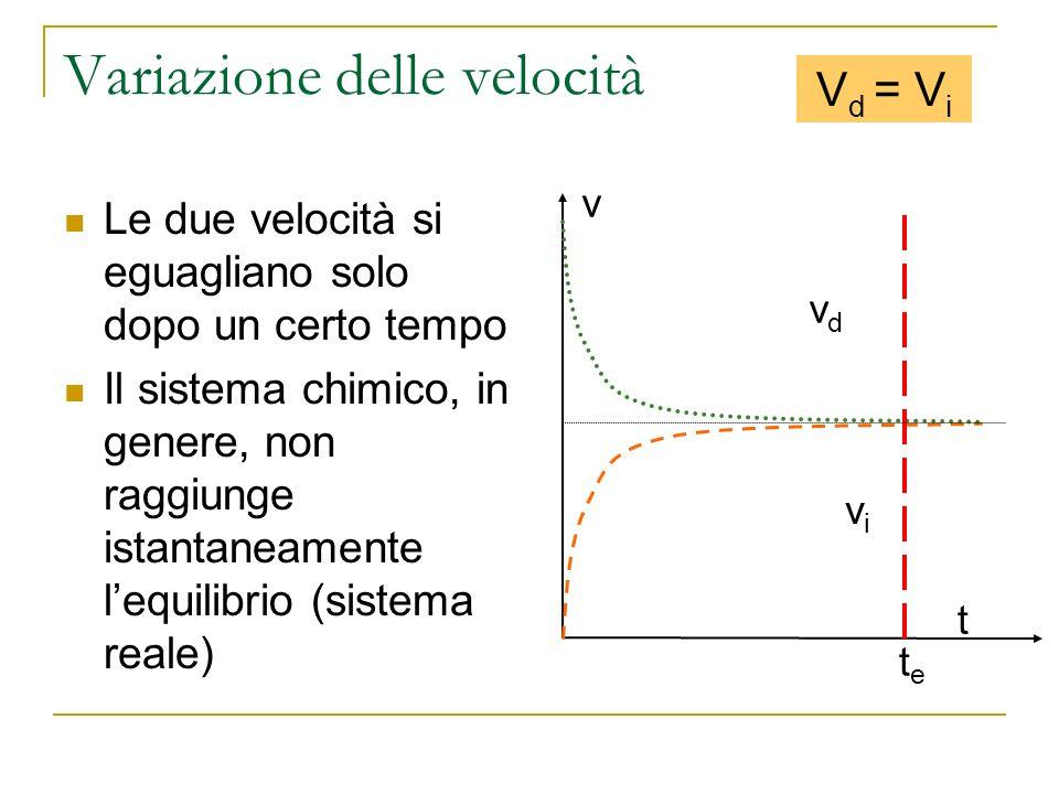 Variazione delle velocità Le due velocità si eguagliano solo dopo un certo tempo Il sistema chimico, in genere, non raggiunge istantaneamente lequilib