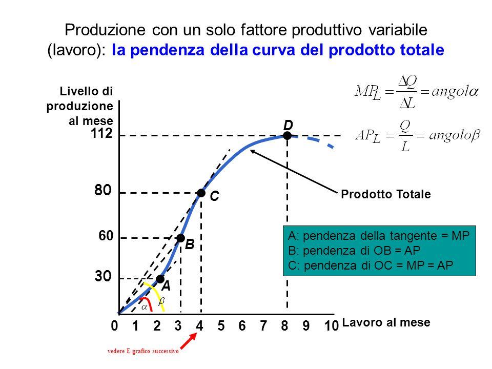 Produzione con un solo fattore produttivo variabile (lavoro): la pendenza della curva del prodotto totale Prodotto Totale Lavoro al mese Livello di pr