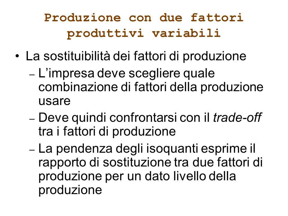 Produzione con due fattori produttivi variabili La sostituibilità dei fattori di produzione – Limpresa deve scegliere quale combinazione di fattori de