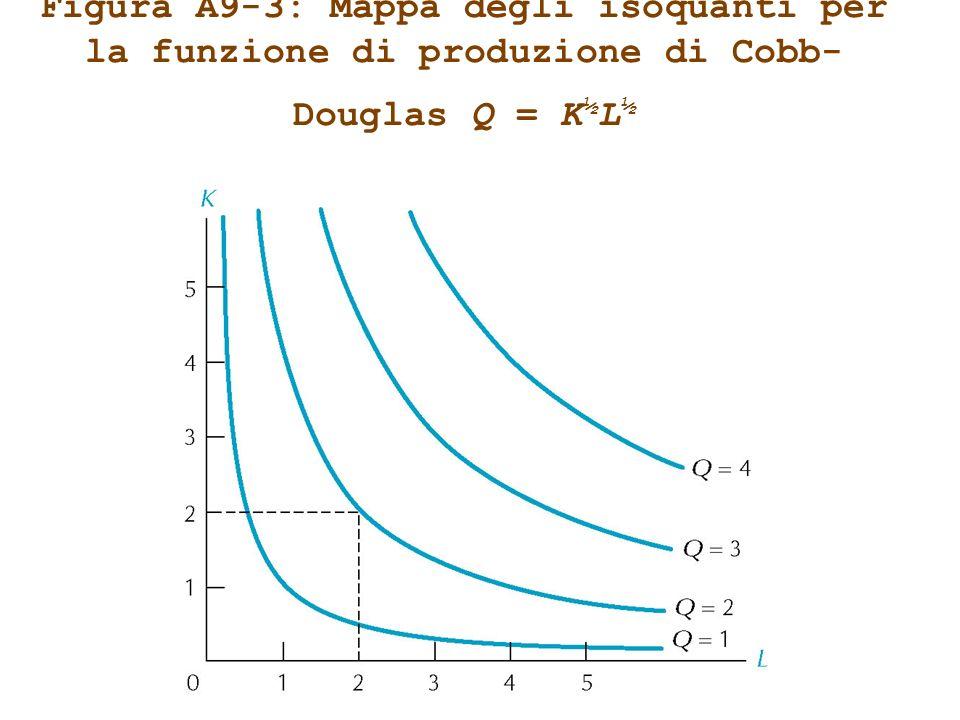 Figura A9-3: Mappa degli isoquanti per la funzione di produzione di Cobb- Douglas Q = K ½ L ½