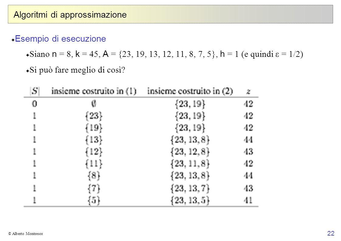 22 © Alberto Montresor Algoritmi di approssimazione Esempio di esecuzione Siano n = 8, k = 45, A = {23, 19, 13, 12, 11, 8, 7, 5}, h = 1 (e quindi ε = 1/2) Si può fare meglio di così