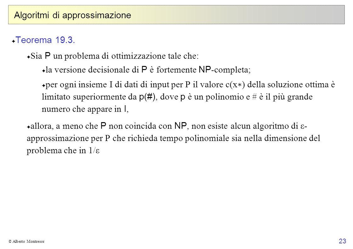 23 © Alberto Montresor Algoritmi di approssimazione Teorema 19.3.
