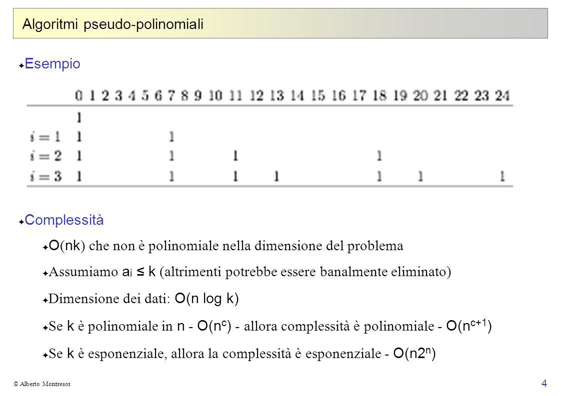 4 © Alberto Montresor Algoritmi pseudo-polinomiali Esempio Complessità O ( nk ) che non è polinomiale nella dimensione del problema Assumiamo a i k (altrimenti potrebbe essere banalmente eliminato) Dimensione dei dati: O(n log k) Se k è polinomiale in n - O(n c ) - allora complessità è polinomiale - O(n c+1 ) Se k è esponenziale, allora la complessità è esponenziale - O(n2 n )