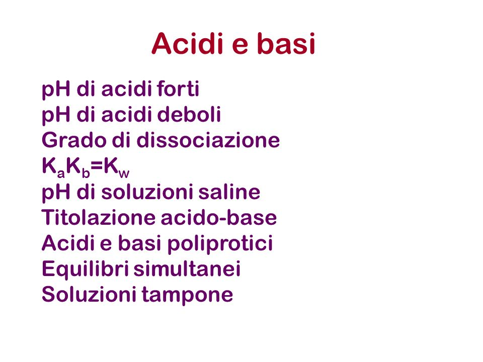 NaClNa + + Cl - NH 4 ClNH 4 + + Cl - KCNK + + CN - CH 3 COONaNa + + CH 3 COO - Il catione potrà comportarsi da acido e lanione potrà Comportarsi da base.