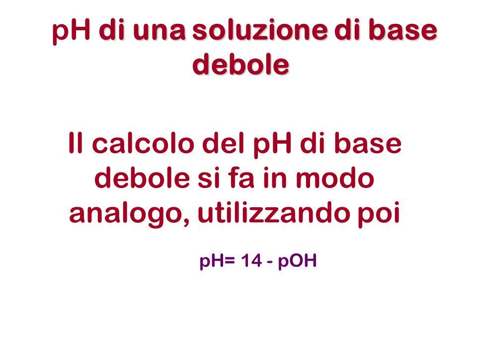 Il calcolo del pH di base debole si fa in modo analogo, utilizzando poi pH= 14 - pOH di una soluzione di base debole pH di una soluzione di base debole
