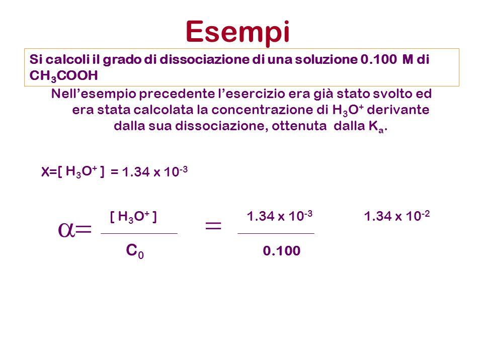 Nellesempio precedente lesercizio era già stato svolto ed era stata calcolata la concentrazione di H 3 O + derivante dalla sua dissociazione, ottenuta dalla K a.