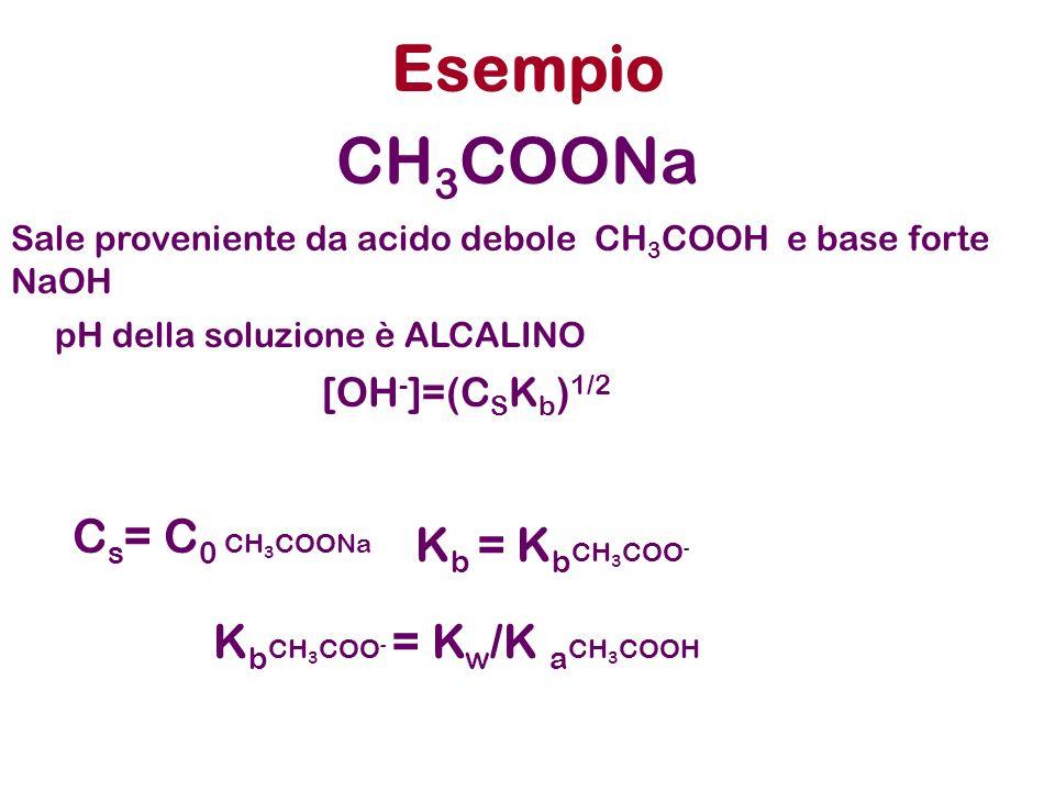 Esempio K b CH 3 COO - = K w /K a CH 3 COOH [OH - ]=(C S K b ) 1/2 CH 3 COONa Sale proveniente da acido debole CH 3 COOH e base forte NaOH pH della so