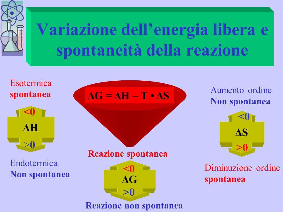 Grandezze termodinamiche Energia libera del sistema G Entalpia (energia trasformabile in lavoro) H Entropia (energia degradata, disordine) S Temperatu
