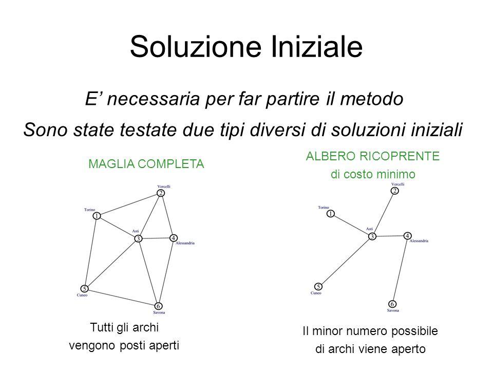 Soluzione Iniziale E necessaria per far partire il metodo Sono state testate due tipi diversi di soluzioni iniziali MAGLIA COMPLETA ALBERO RICOPRENTE