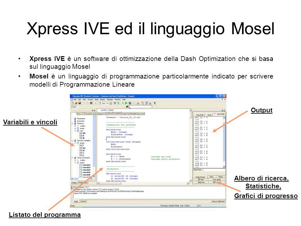 Xpress IVE ed il linguaggio Mosel Xpress IVE è un software di ottimizzazione della Dash Optimization che si basa sul linguaggio Mosel Mosel è un lingu