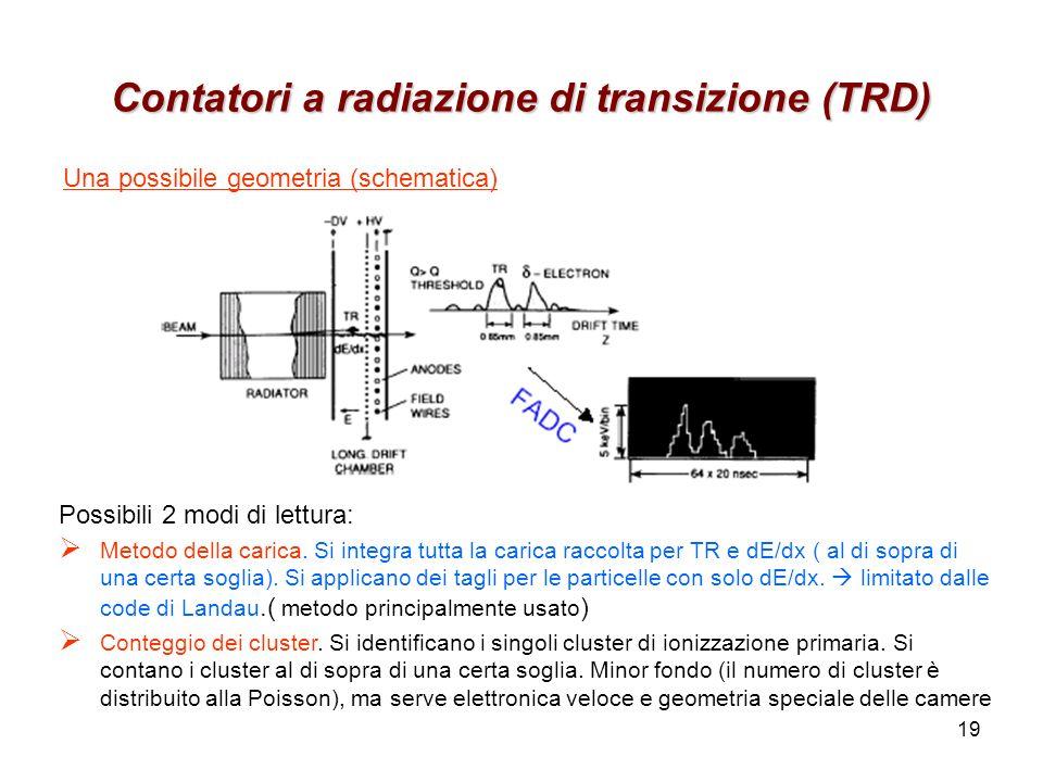 19 Contatori a radiazione di transizione (TRD) Una possibile geometria (schematica) Possibili 2 modi di lettura: Metodo della carica. Si integra tutta