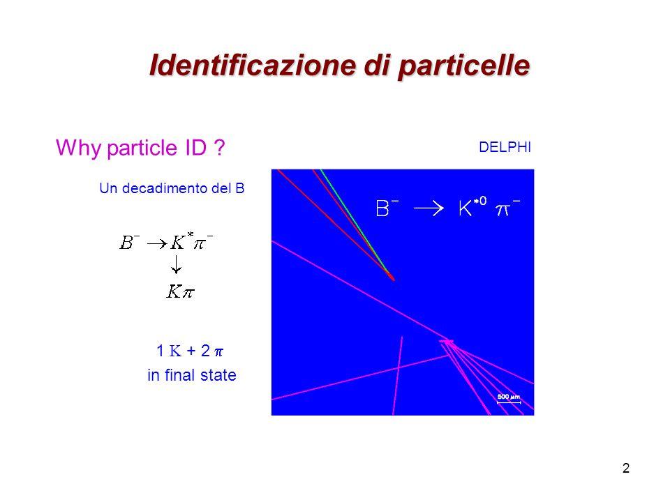 2 Identificazione di particelle Identificazione di particelle DELPHI Why particle ID ? 1 K + 2 in final state Un decadimento del B