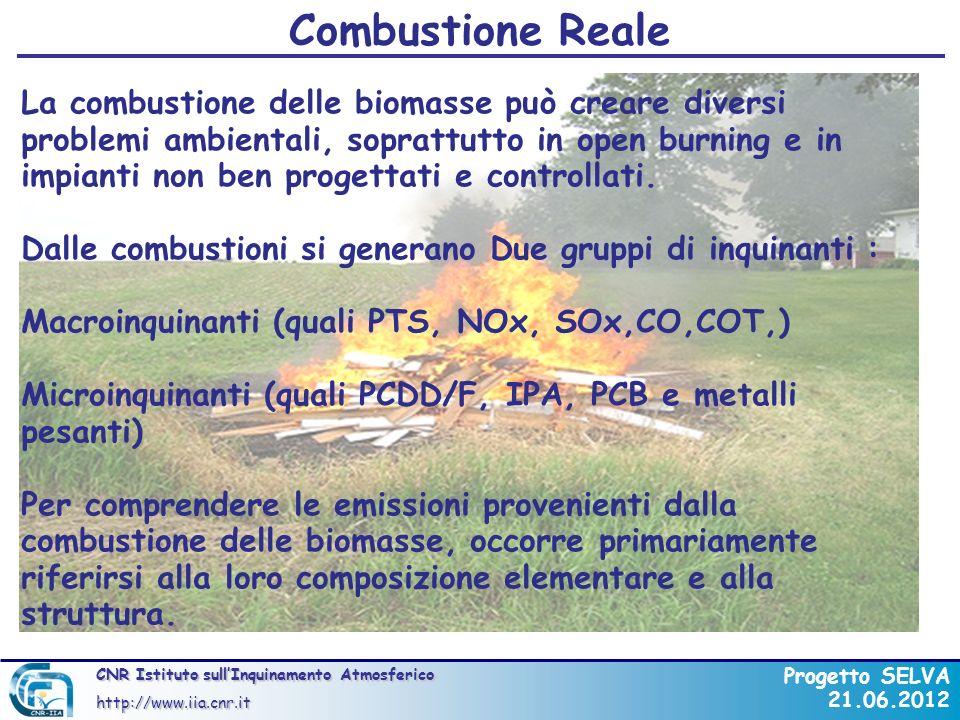 CNR Istituto sullInquinamento Atmosferico http://www.iia.cnr.it Progetto SELVA 21.06.2012 Emissioni (mg/kWh) GASOLIOMETANO CIPPATO CO10150250 SO 2 35020 NO x 350150350 Polveri200150 COV5210 Rapporto sullenergia del Ministero dellAmbiente Austriaco Combustione Reale