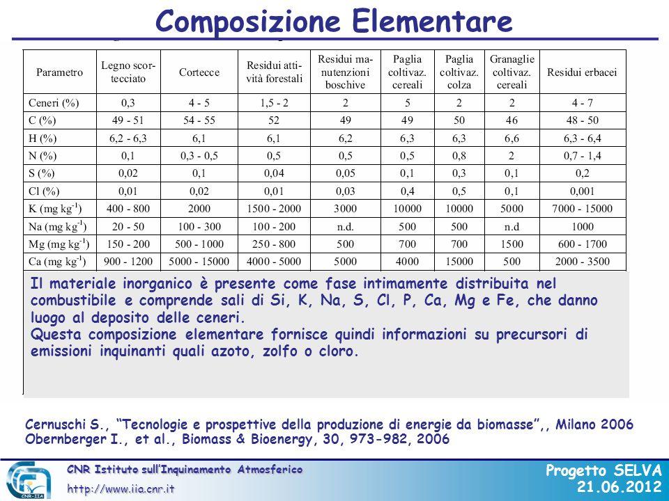 CNR Istituto sullInquinamento Atmosferico http://www.iia.cnr.it Progetto SELVA 21.06.2012 La composizione chimica media di una biomassa ad alto fusto consiste di circa in: 25-30% di lignina 75% di carboidrati, ovvero molecole di zucchero unite a formare lunghe catene polimeriche.