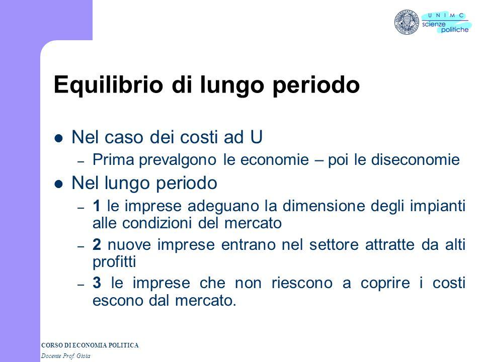 CORSO DI ECONOMIA POLITICA Docente Prof. Gioia Economie e diseconomie di scala Perché le economie di scala : 1. Divisione del lavoro 2. Indivisibilità