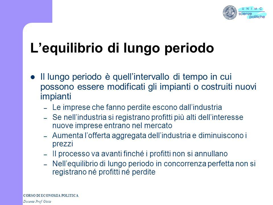 1 CORSO DI ECONOMIA POLITICA 4° parte Docente Prof. GIOIA La scelta dellimpresa Il lungo periodo I Semestre a.a. 2005-06