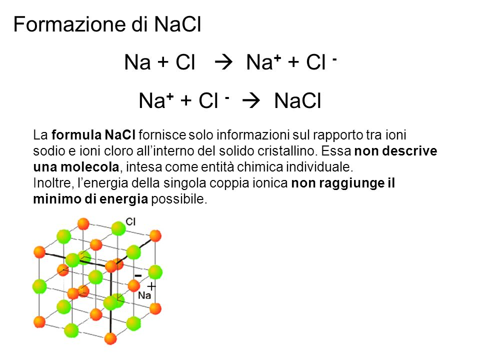 Formazione di NaCl Na + Cl Na + + Cl - Na + + Cl - NaCl La formula NaCl fornisce solo informazioni sul rapporto tra ioni sodio e ioni cloro allinterno