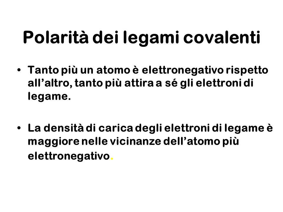 Polarità dei legami covalenti Tanto più un atomo è elettronegativo rispetto allaltro, tanto più attira a sé gli elettroni di legame. La densità di car