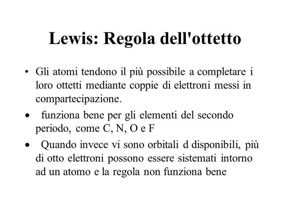 Lewis: Regola dell'ottetto Gli atomi tendono il più possibile a completare i loro ottetti mediante coppie di elettroni messi in compartecipazione. fun