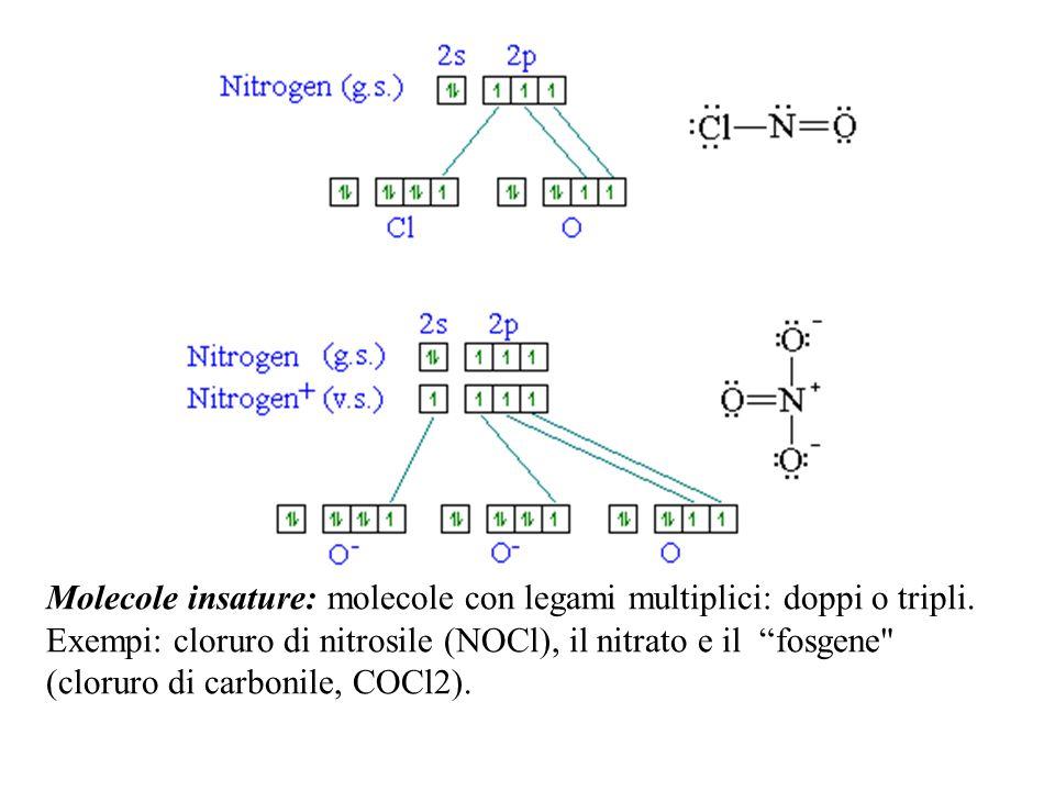 Molecole insature: molecole con legami multiplici: doppi o tripli. Exempi: cloruro di nitrosile (NOCl), il nitrato e il fosgene