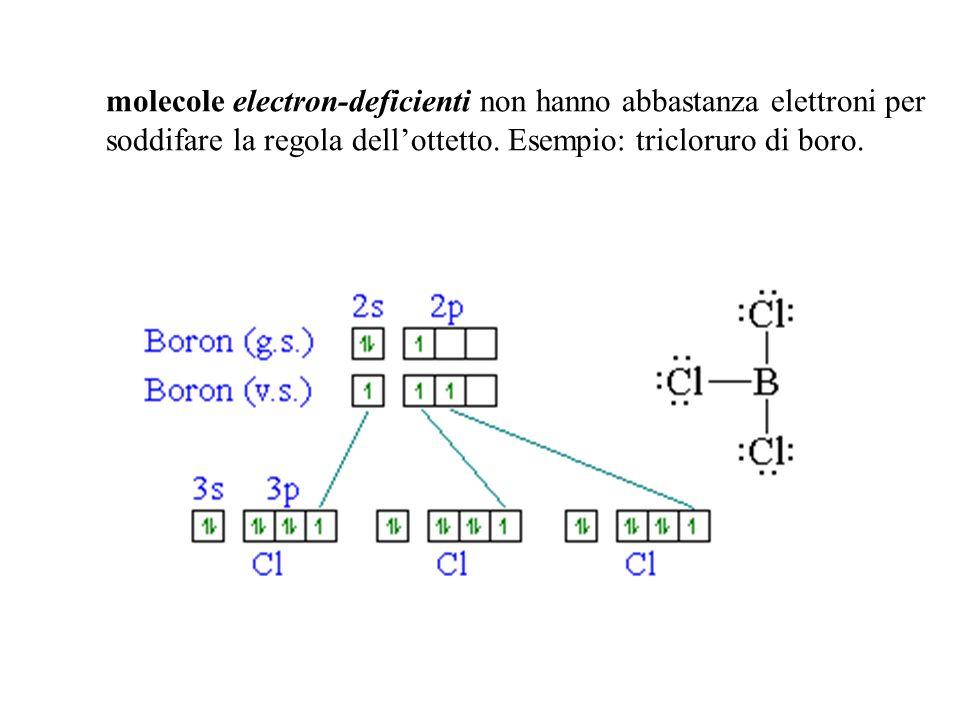 molecole electron-deficienti non hanno abbastanza elettroni per soddifare la regola dellottetto. Esempio: tricloruro di boro.