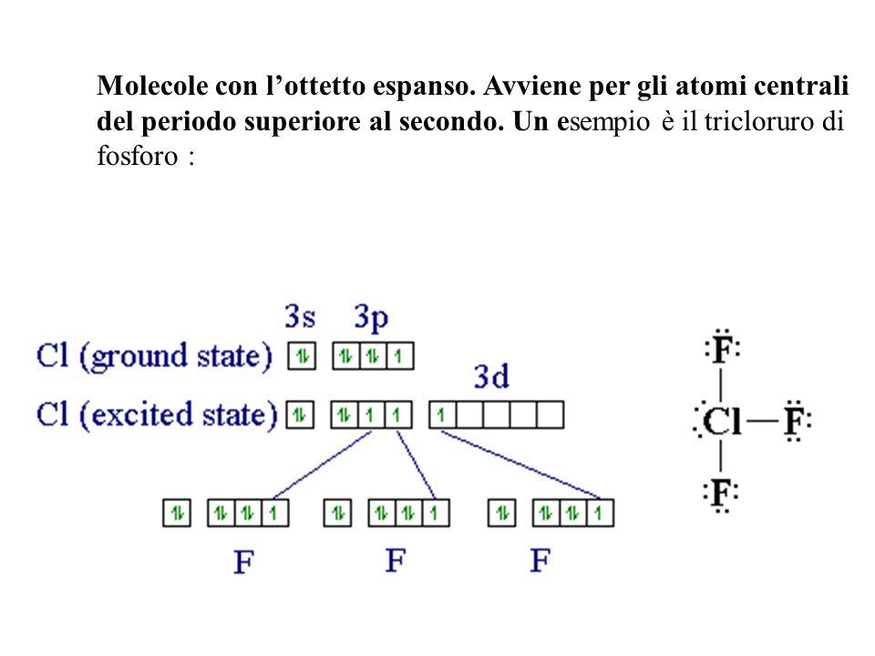 Molecole con lottetto espanso. Avviene per gli atomi centrali del periodo superiore al secondo. Un esempio è il tricloruro di fosforo :