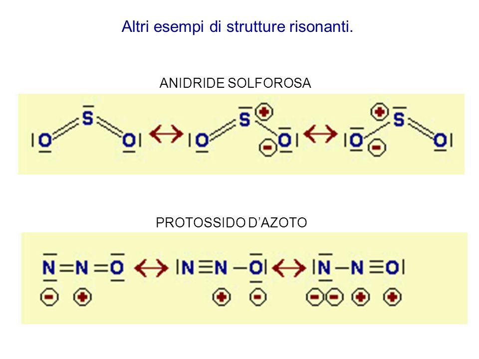 PROTOSSIDO DAZOTO ANIDRIDE SOLFOROSA Altri esempi di strutture risonanti.