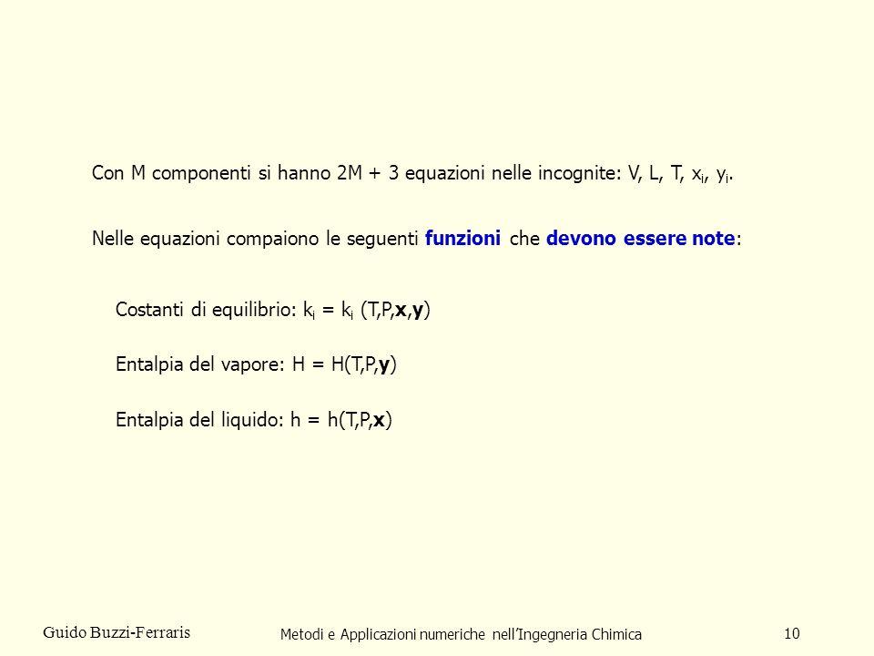 Metodi e Applicazioni numeriche nellIngegneria Chimica 10 Guido Buzzi-Ferraris Con M componenti si hanno 2M + 3 equazioni nelle incognite: V, L, T, x