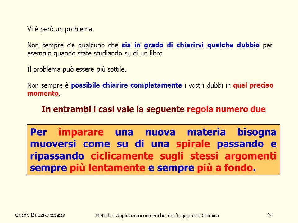 Metodi e Applicazioni numeriche nellIngegneria Chimica 24 Guido Buzzi-Ferraris Vi è però un problema. Non sempre cè qualcuno che sia in grado di chiar