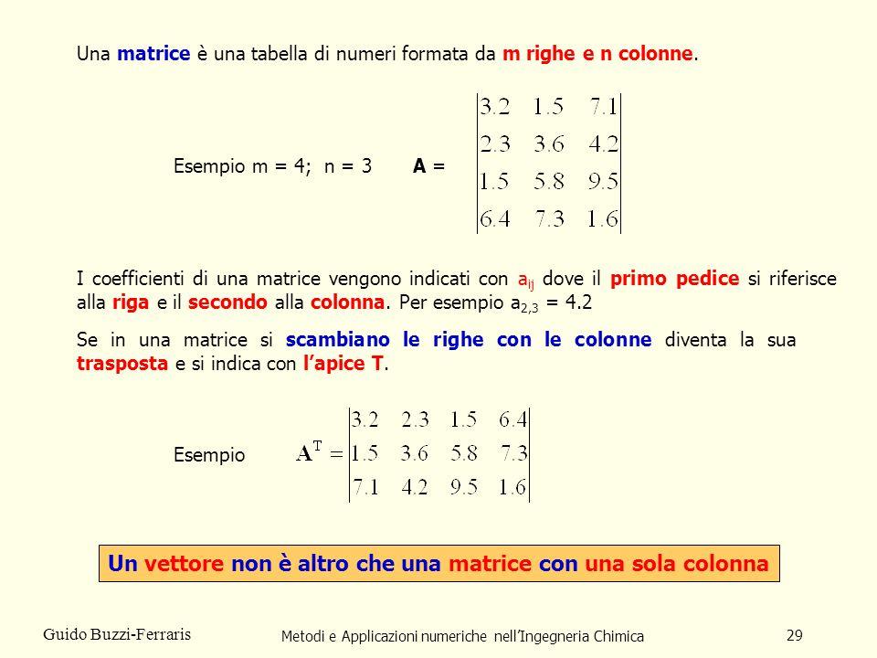 Metodi e Applicazioni numeriche nellIngegneria Chimica 29 Guido Buzzi-Ferraris Una matrice è una tabella di numeri formata da m righe e n colonne. Ese