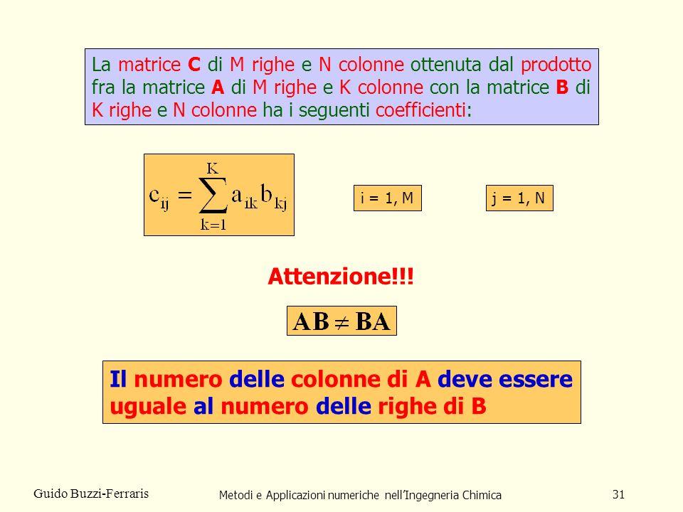 Metodi e Applicazioni numeriche nellIngegneria Chimica 31 Guido Buzzi-Ferraris La matrice C di M righe e N colonne ottenuta dal prodotto fra la matric