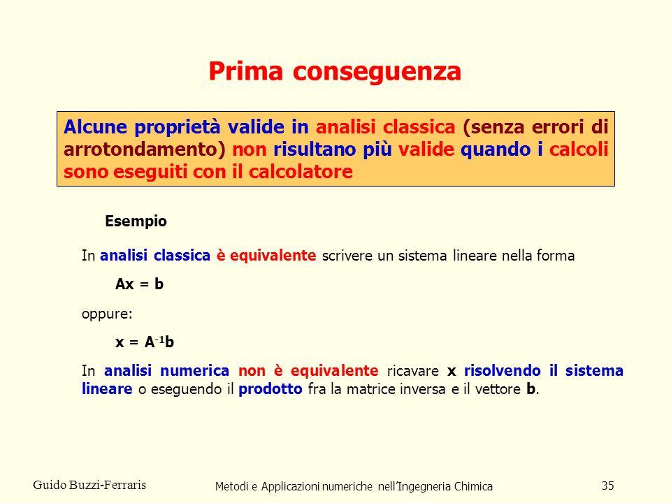 Metodi e Applicazioni numeriche nellIngegneria Chimica 35 Guido Buzzi-Ferraris Prima conseguenza Alcune proprietà valide in analisi classica (senza er