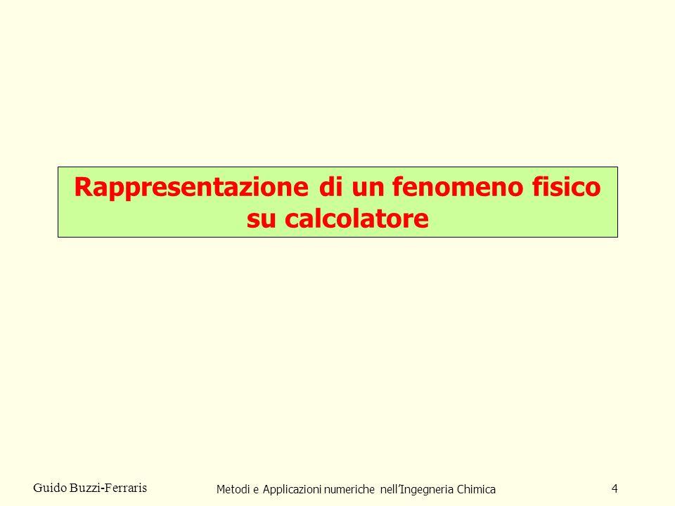 Metodi e Applicazioni numeriche nellIngegneria Chimica 4 Guido Buzzi-Ferraris Rappresentazione di un fenomeno fisico su calcolatore