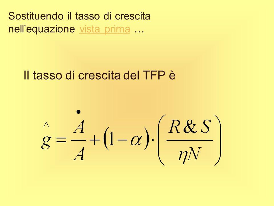 Nel caso più semplice, N è proporzionale allammontare di output destinato a R&S Dove ŋ è un parametro di costo che rappresenta lammontare di R&S richi
