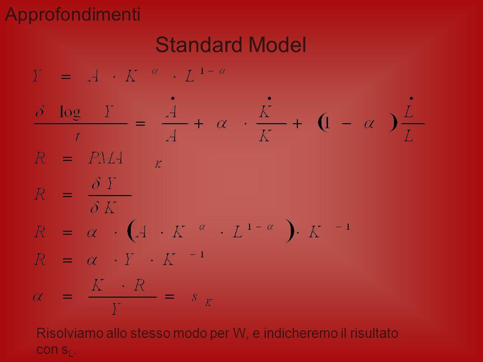 Standard Primal Growth Accounting Ipotesi alla base del modello: Funzione di produzione neoclassica Y = F(A, K, L) Variazioni nelle quantità dei fatto