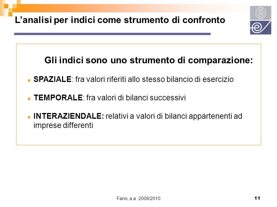 Fano, a.a. 2009/201011 Lanalisi per indici come strumento di confronto Gli indici sono uno strumento di comparazione: n SPAZIALE: fra valori riferiti