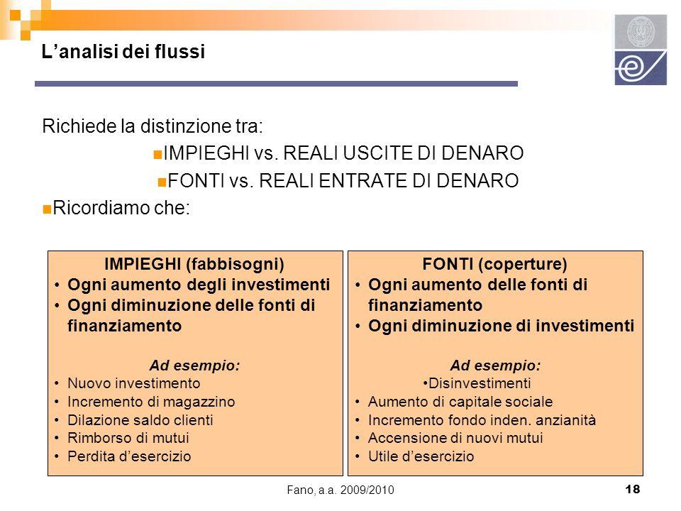 Fano, a.a. 2009/201018 Lanalisi dei flussi Richiede la distinzione tra: IMPIEGHI vs. REALI USCITE DI DENARO FONTI vs. REALI ENTRATE DI DENARO Ricordia