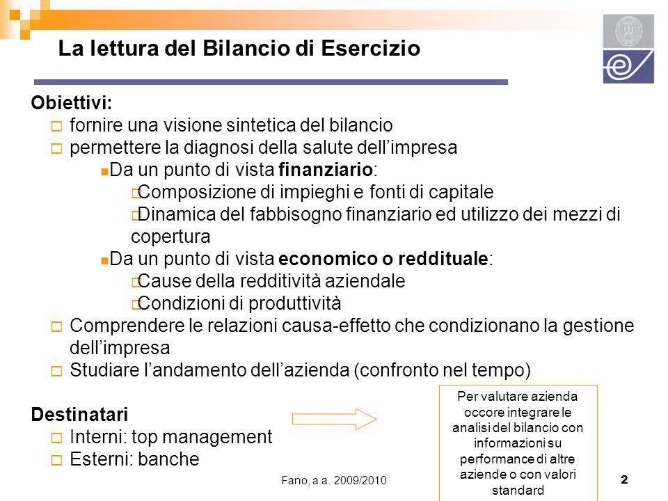 Fano, a.a. 2009/20102 La lettura del Bilancio di Esercizio Obiettivi: fornire una visione sintetica del bilancio permettere la diagnosi della salute d