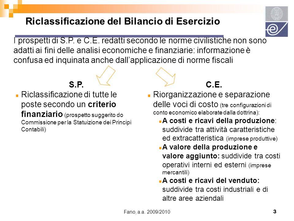 Fano, a.a. 2009/20103 Riclassificazione del Bilancio di Esercizio I prospetti di S.P. e C.E. redatti secondo le norme civilistiche non sono adatti ai