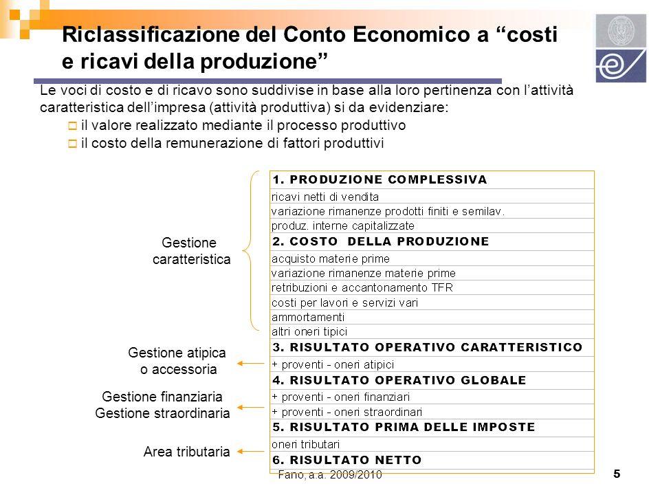 Fano, a.a.2009/20106 Confronto tra C.E. redatto secondo principi civilistici e C.E.