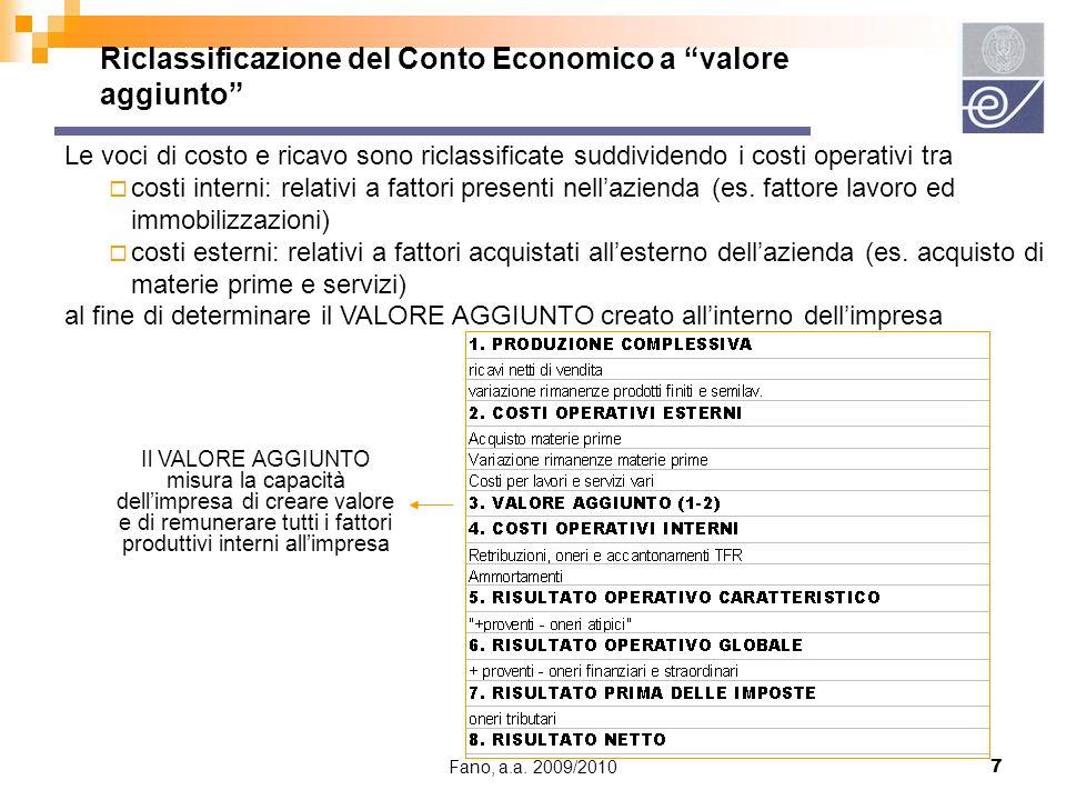 Fano, a.a. 2009/20107 Le voci di costo e ricavo sono riclassificate suddividendo i costi operativi tra costi interni: relativi a fattori presenti nell