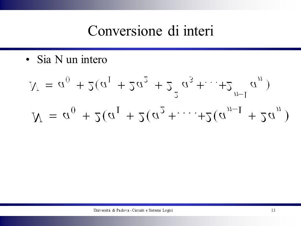 Università di Padova - Circuiti e Sistemi Logici13 Conversione di interi Sia N un intero