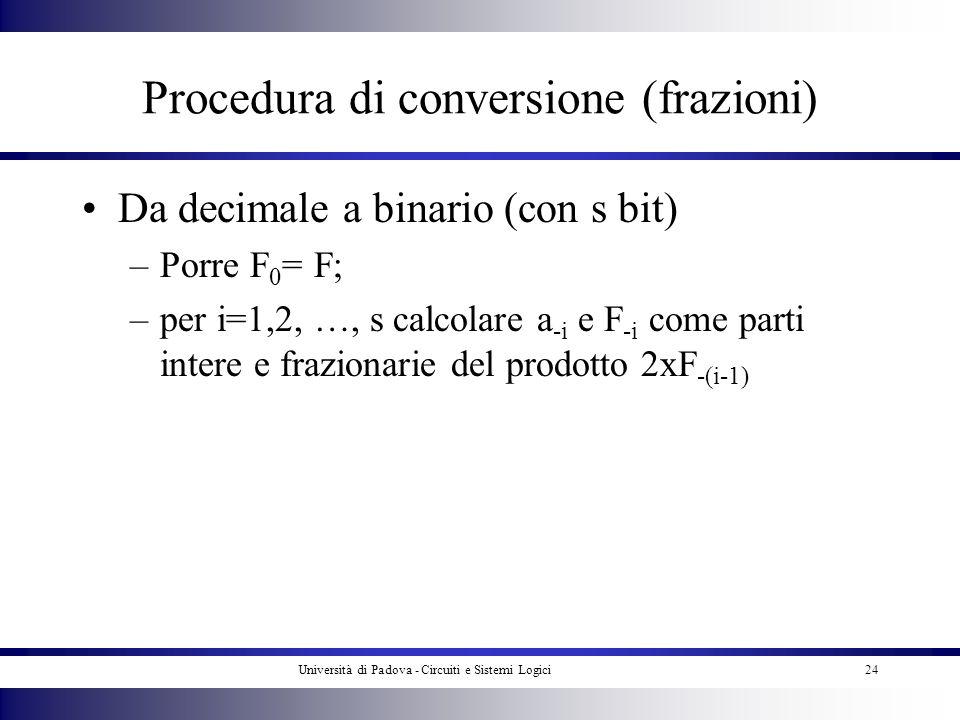 Università di Padova - Circuiti e Sistemi Logici24 Procedura di conversione (frazioni) Da decimale a binario (con s bit) –Porre F 0 = F; –per i=1,2, …