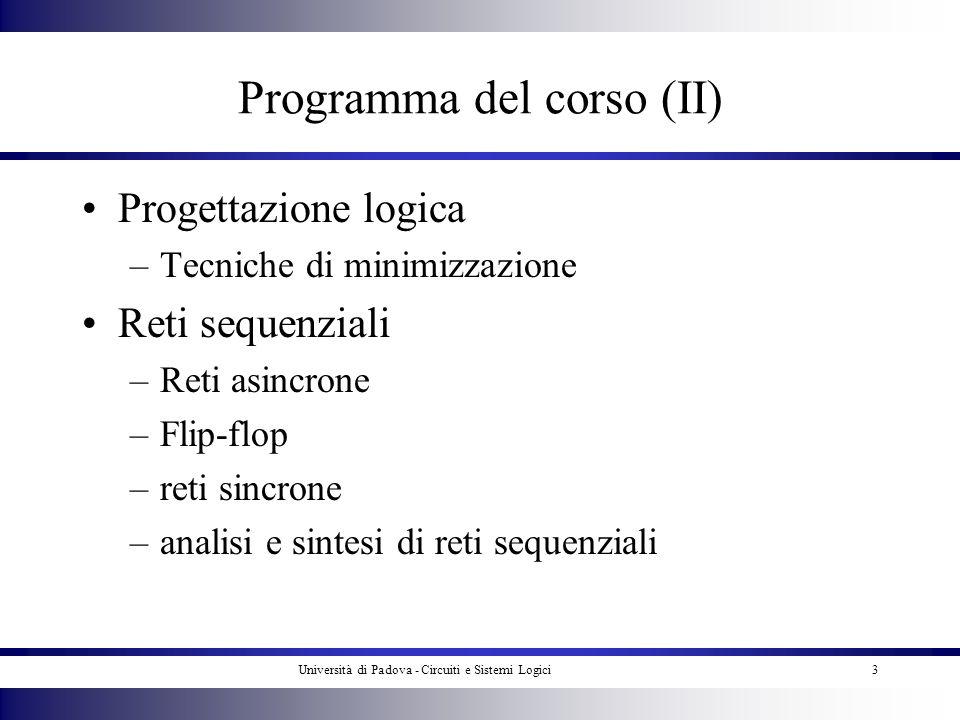 Università di Padova - Circuiti e Sistemi Logici3 Programma del corso (II) Progettazione logica –Tecniche di minimizzazione Reti sequenziali –Reti asi