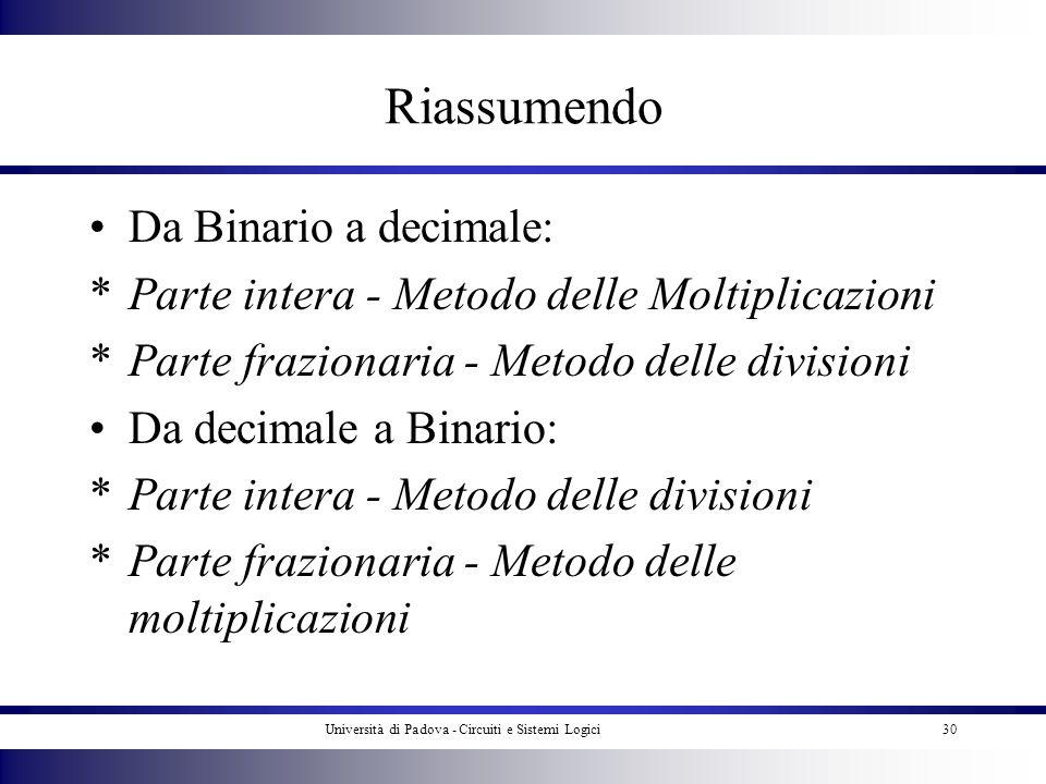 Università di Padova - Circuiti e Sistemi Logici30 Riassumendo Da Binario a decimale: *Parte intera - Metodo delle Moltiplicazioni *Parte frazionaria