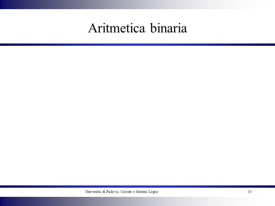 Università di Padova - Circuiti e Sistemi Logici33 Aritmetica binaria